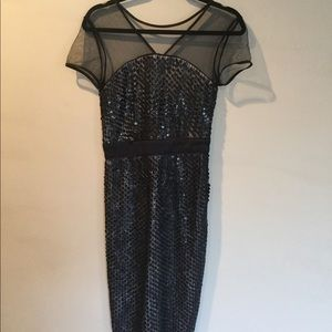 French Connection Sequins Mesh Short Sleeve Dress